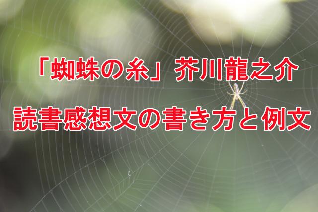 蜘蛛の糸 読書感想文の書き方と例文