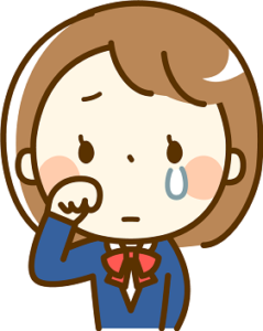 中学生の女の子泣く